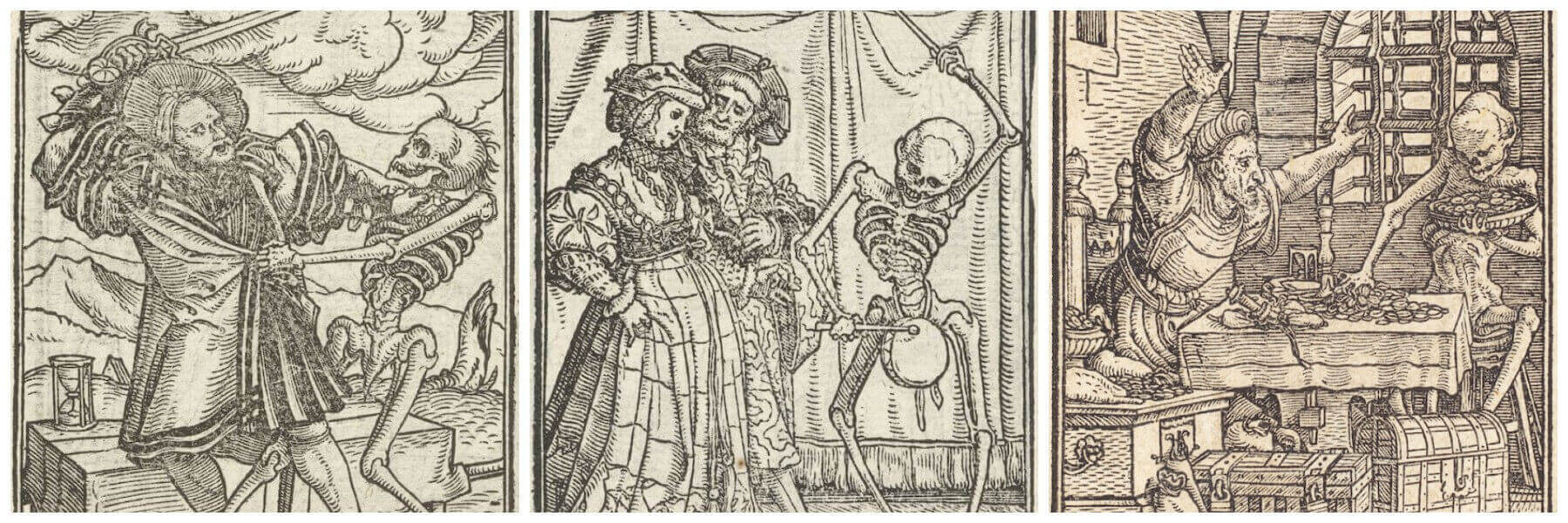 Collage of woodcut prints produced by Hans Holbein the Younger featuring death a skeleton approaching with characters: grabbing a nobleman, playing music to a lady and taking money from a miser