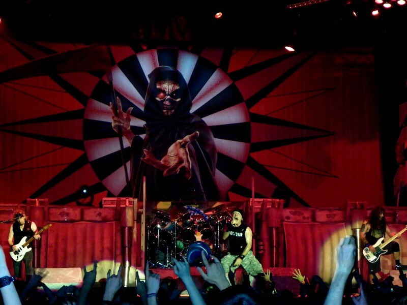 Iron Maiden on stage performing a song from their album Dance of Death