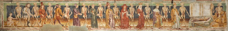 Photograph of medieval frieze depicting skeletons in a parade with people of different social stations, including kings, priests, ladies and peasants