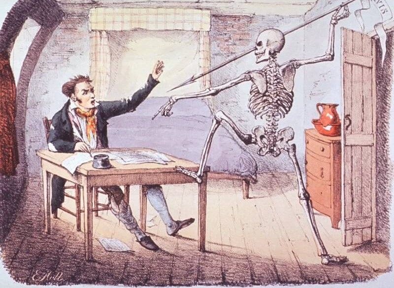 Image of a 19th century colour sketch depicting a skeleton surprising a writer at his desk
