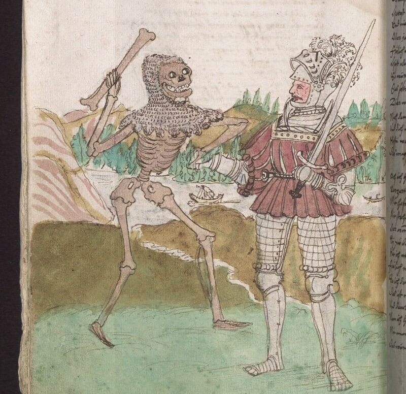 Photograph of medieval Danse Macabre illustration in a book; colour picture of a knight being greeted by a skeleton wearing chainmail on its skull and weilding a bone as a sword