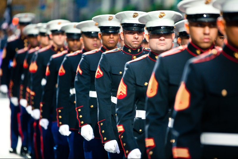 Photo of United States Marines marching in the New York Veterans' Day parade
