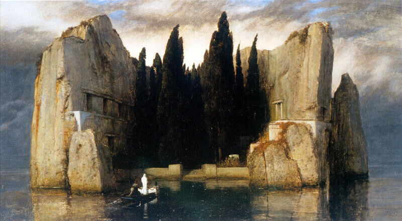 A landscape painting of a lonely, rocky island, a single figure in white approaching by boat
