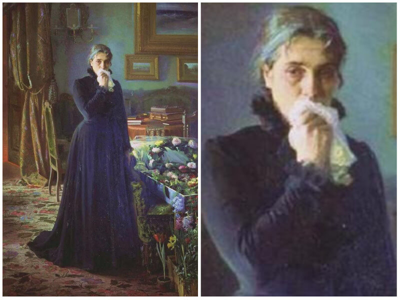 Painting of a woman dressed all in black, standing in her home, crying