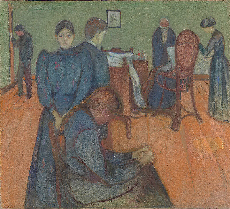 A painting of seven people in a sickroom, some seated some standing, grieving over the death of a loved one