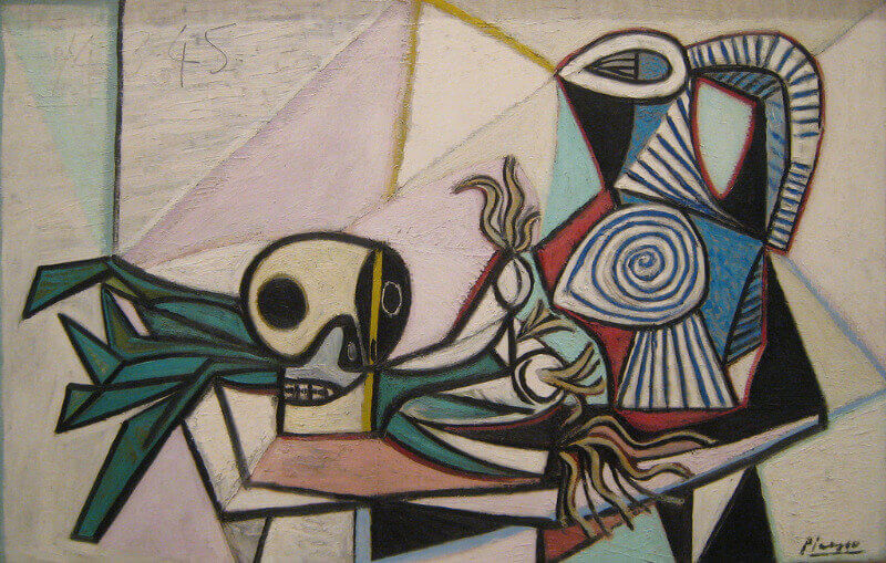 A Cubist depiction of a skull, leeks and a pitcher