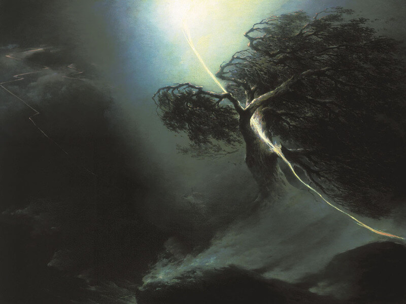A painting of a dark night, a bolt of lightning streaking down from the sky and hitting an oak tree