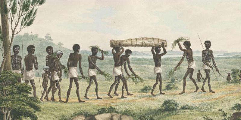 Colour illustration of Australian funeral