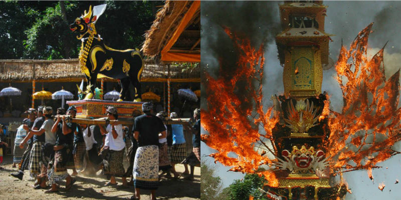A black and gold ox-shaped coffin carried by mourners; an elaborate Waddhu on fire