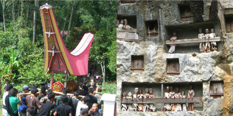 Funeral procession with red and gold coffin; wooden sculptures on cliffside balconies