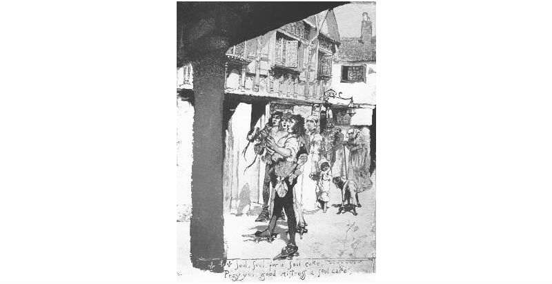 A etching depicting Souling, an old English tradition around the time of Halloween and all Souls Day