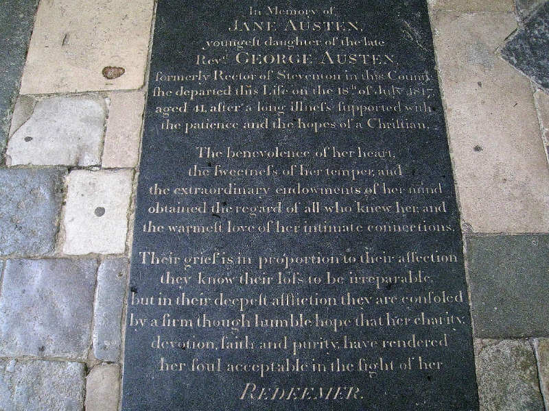 Jane Austen's grave in Winchester Cathedral