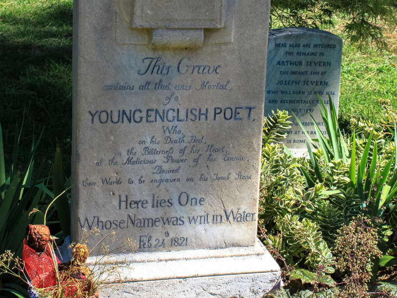 Gravestone of the poet John Keats