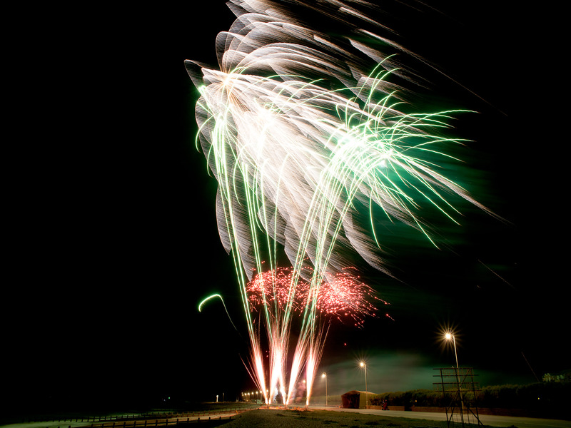 Green and white fireworks resembling swaying palm trees