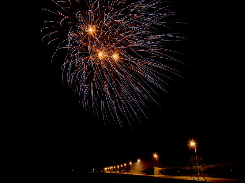 A chrysanthemum effect firework