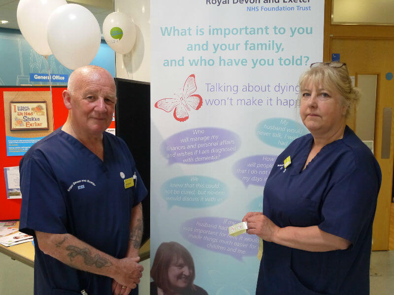 Keith and Sue Bignall on the Dying Matters stand at RD&E Hospital