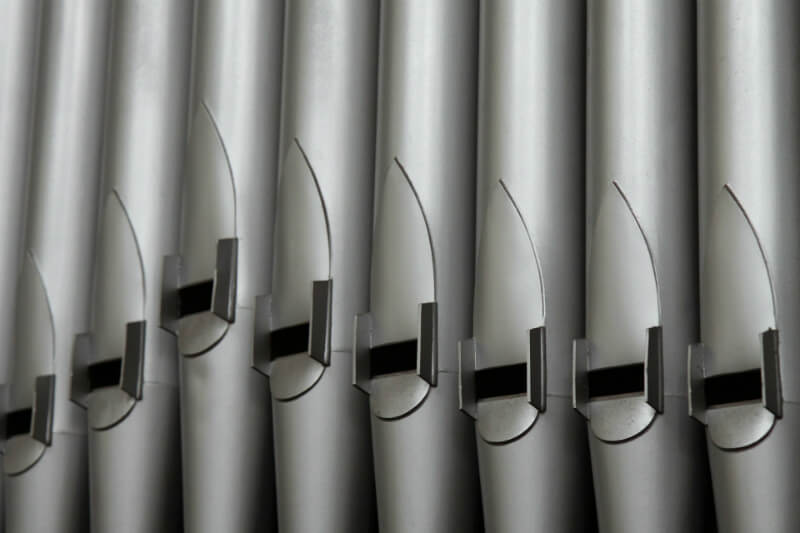 Organ pipes up close