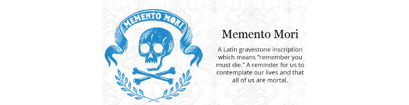 image from Funeral Zone's guide to gravestone symbolism: Memento Mori, meaning 'remember you too must die'