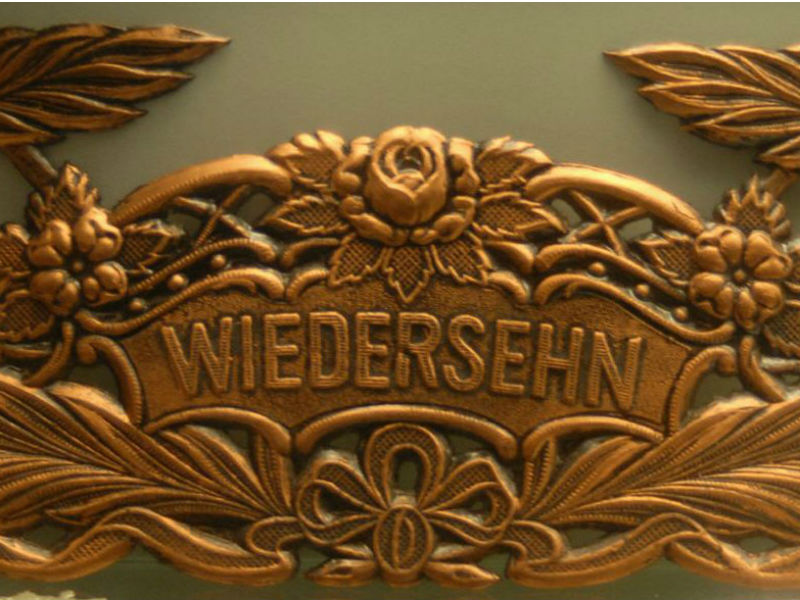 The swiss museum of burial culture is located at Hornli Cemetery. Picture shows brass coffin fitting with the word weidersehn-