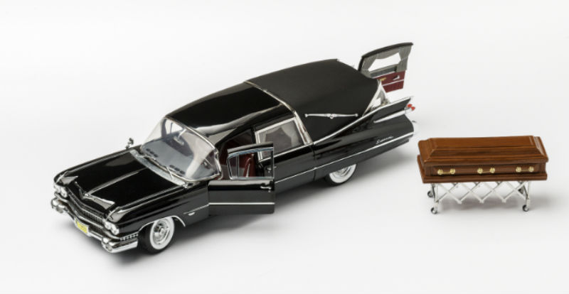 miniature hearse and casket at the Dutch Funeral Museum in Amsterdam