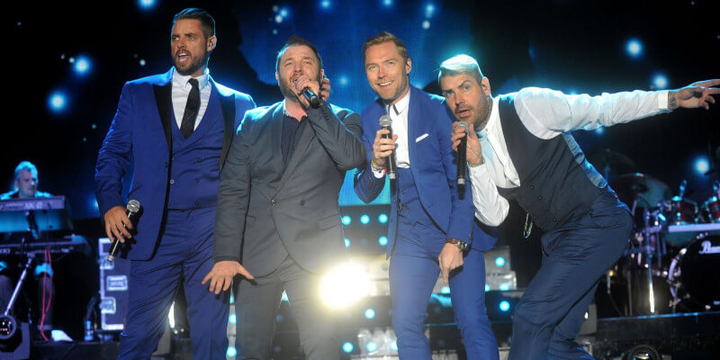 Boyzone performing on stage