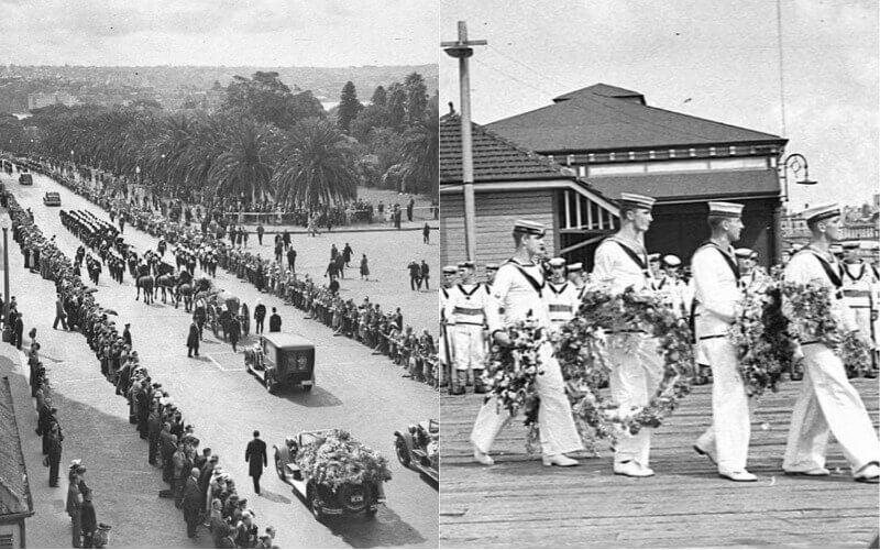 A large funeral procession watched by hundreds of people, and members of the Navy laying funeral wreaths