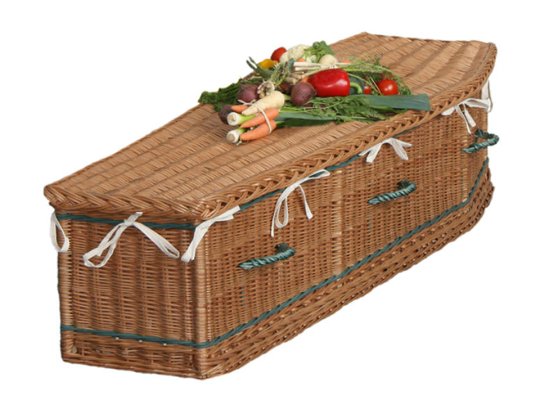wicker coffin with veg