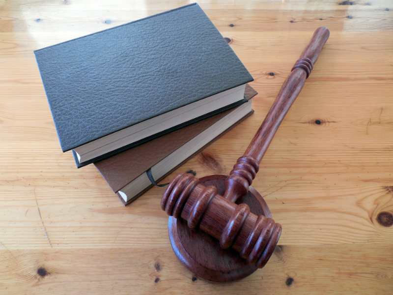 A gavel and books