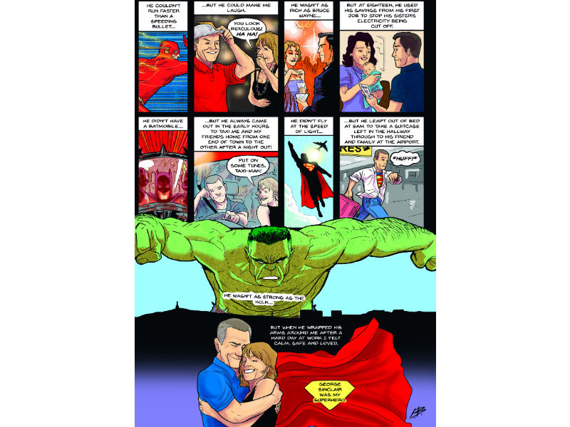 Close to the heart comic - family memories depicted superhero style
