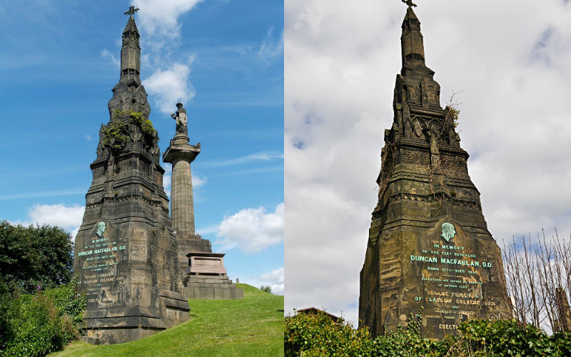 Tall Gothic-style memorial in Glasgow Necropolis