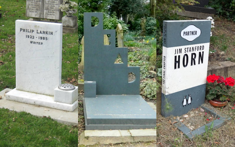 A simple white marble headstone marked Philip Larkin, a headstone with the word 'DEAD' carved in block art letters, and a headstone in the shape of a book