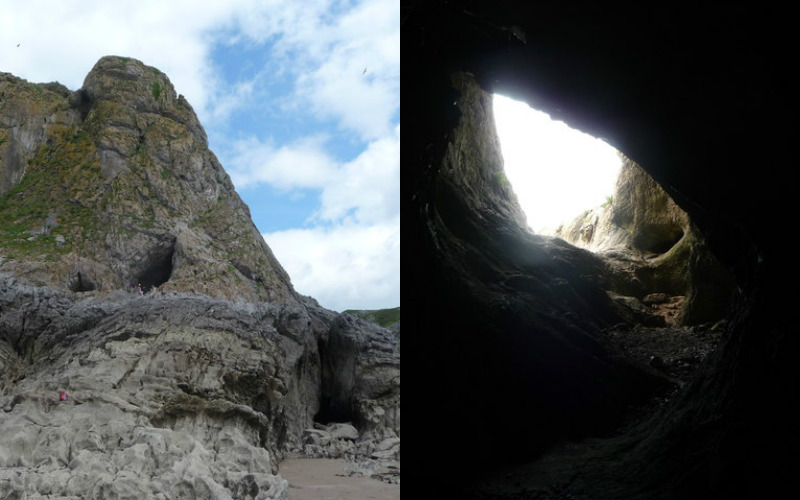Paviland Cave from the coast and from inside