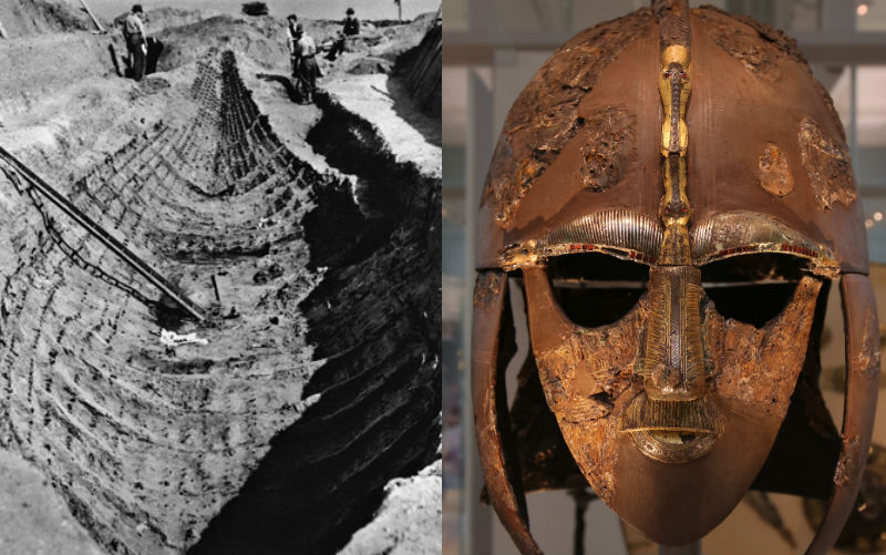Longship excavation at Sutton Hoo, and Anglo Saxon helmet found in the grave