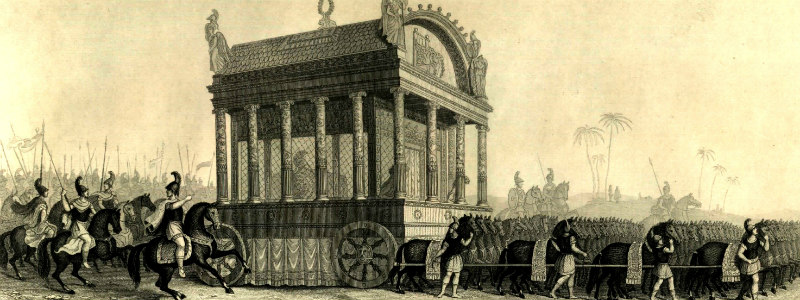 Illustration showing a large funeral carriage with columns and a domed roof, pulled by many horses
