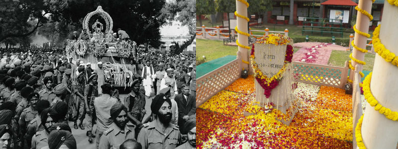 Crowds watching the makeshift funeral bier being pulled and the memorial to Gandhi covered in yellow and red flower petals