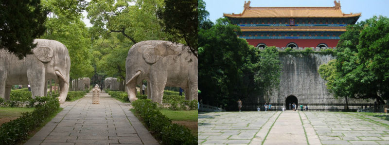 Spirit Path lined with trees and large stone elephants, and the Hongwu Mausoleum with red walls and a yellow tiled roof