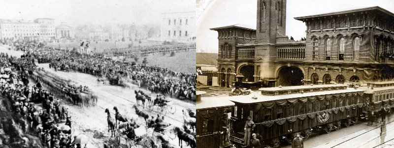 Carriages in a procession, watched by large crowds, and a train with black drapes in a train station