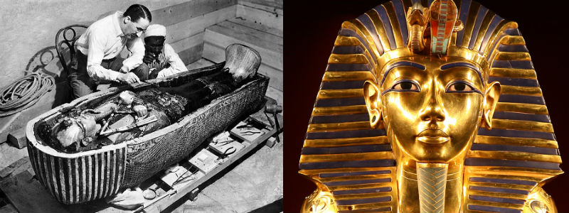 Howard Carter leaning over the open sarcophagus watched by his assistant, and the solid gold burial mask of Tutankhamun