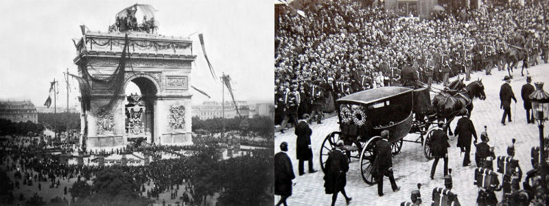 The Arc de Triomphe in Paris covered in black flags, and a horse-drawn carriage in a funeral procession through the streets