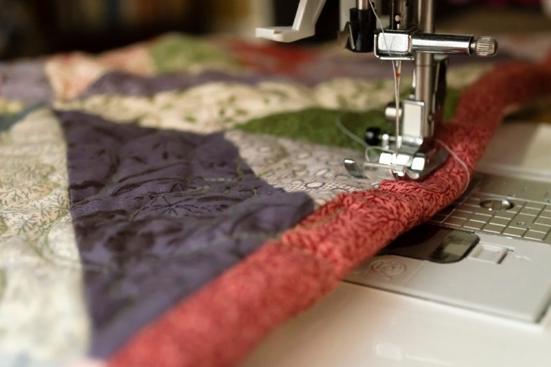 close up quilt on sewing machine
