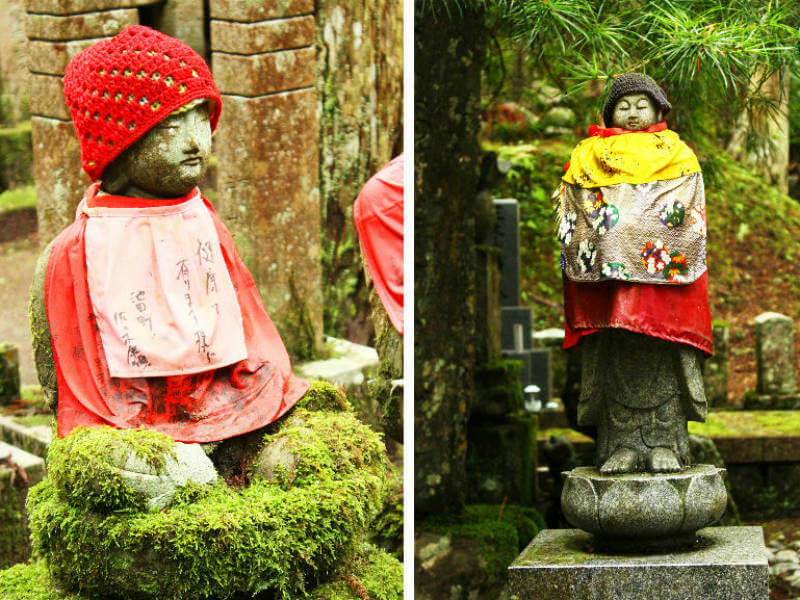 Jizo statues dressed in woollen hats and bibs
