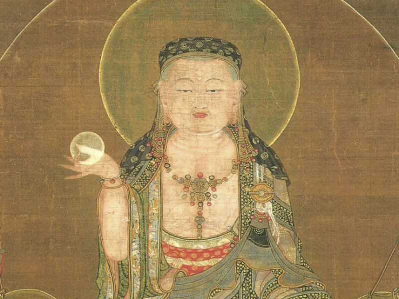 A painting of Ksitigarbha with his magical jewel in one hand, a halo around his head