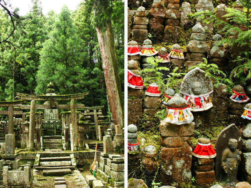 A moss-covered archway in Okunoin Cemetery, and small stone Jizo statuettes draped with red bibs
