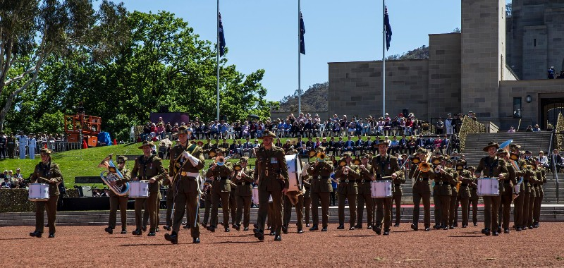 Photo of Australian army band on parade
