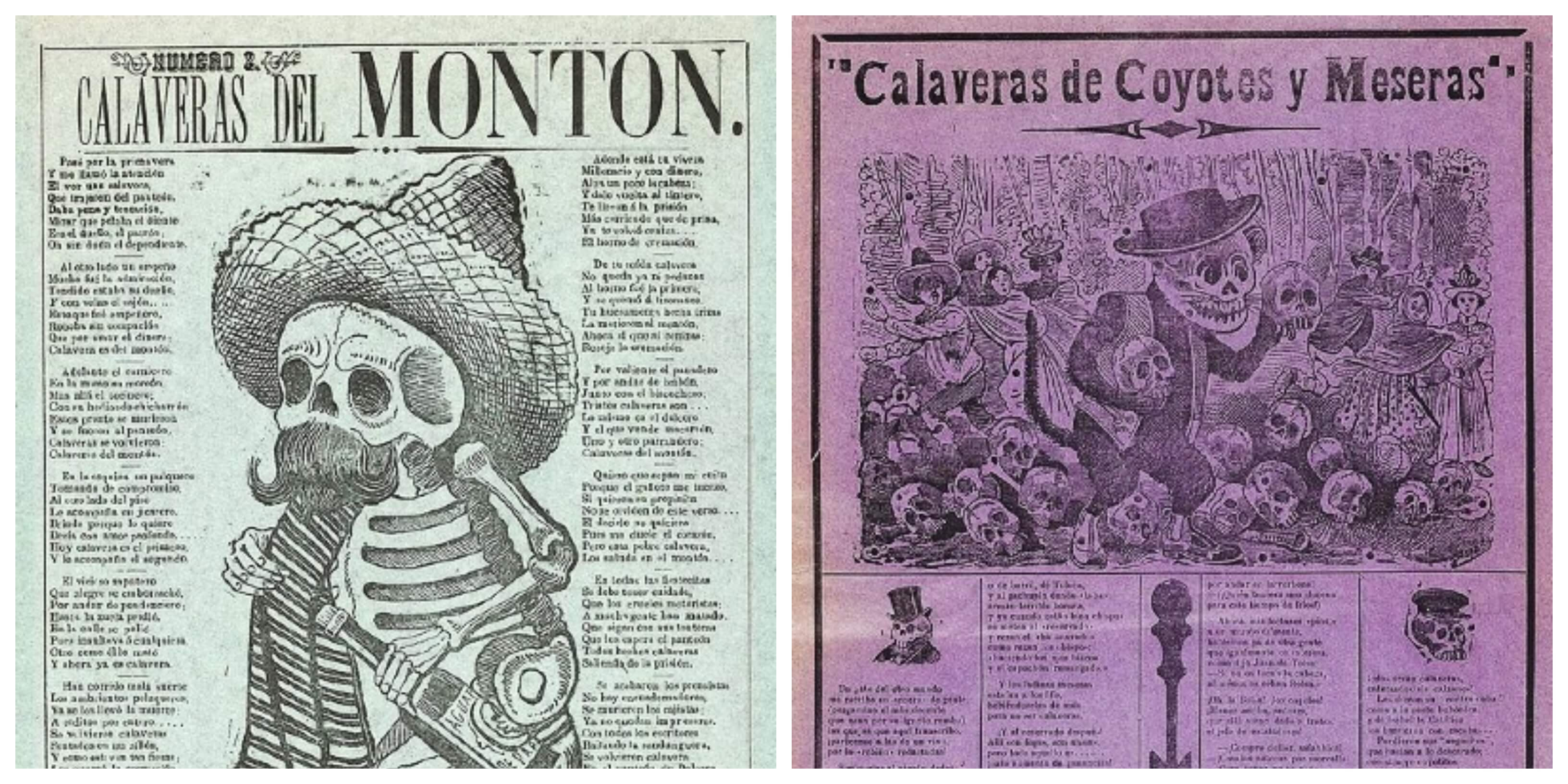 Collage of two prints of calaveras by José Guadalupe Posada depicting anthropomorphic skeletons, which inspired the design of costume and floats for Day of the Dead