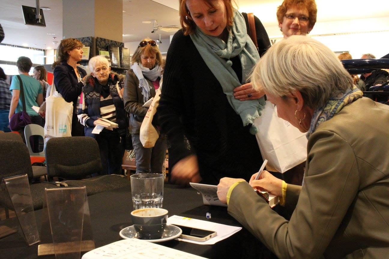 Julia Samuel signing copies of her book at Waterstones in Exeter