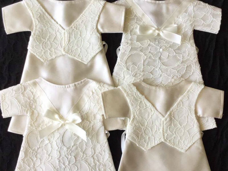 baby burial gowns made from donated wedding dresses