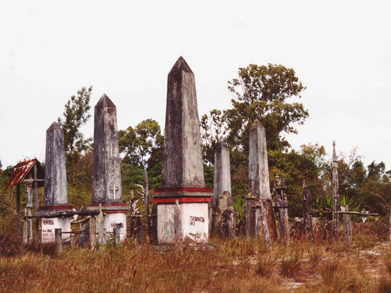 Gravestones at a traditional rural burial ground in Madagascar