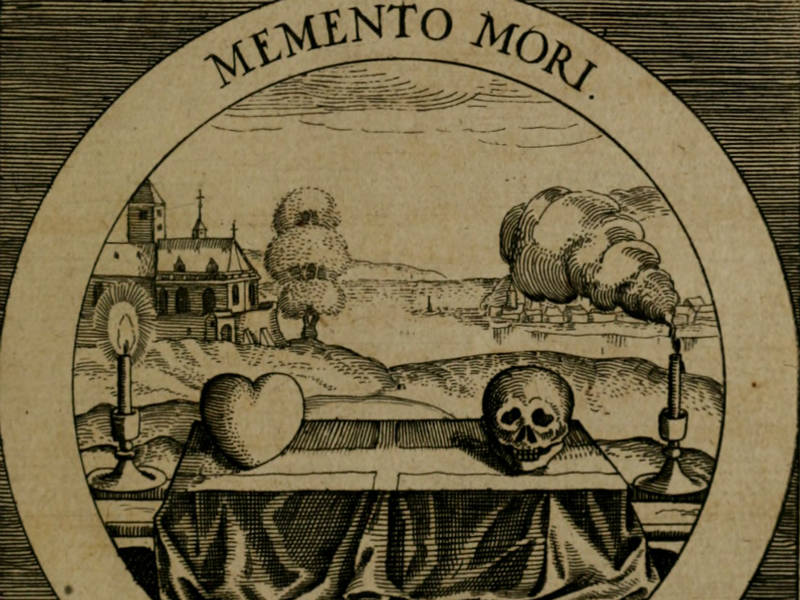 Black-and-white illustration showing an altar decorated with a heart shape and a skull, with text reading 'Memento Mori'