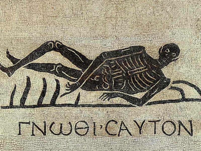 Mosaic showing a reclining skeleton
